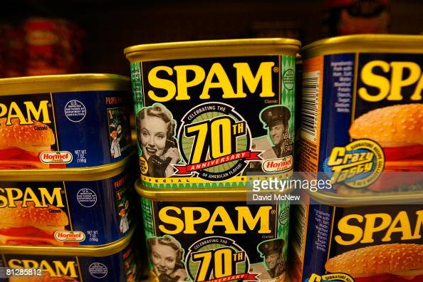 Seventieth anniversary cans of Spam the oftenmaligned classic canned lunch meat made by Hormel Foods are seen on a grocery store shelf May 29 2008 in...