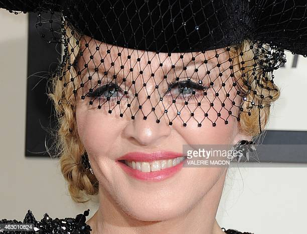 Seventime Grammy winner Madonna arrives on the red carpet for the 57th Annual Grammy Awards in Los Angeles February 8 2015 AFP PHOTO/VALERIE MACON