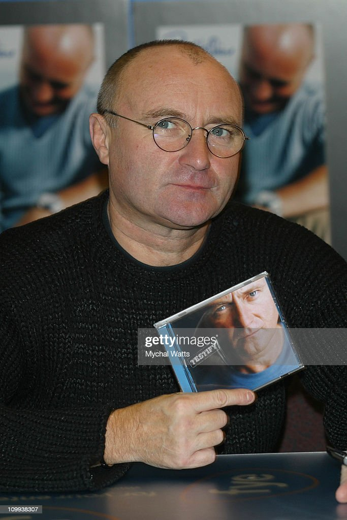 Seven-time Grammy Winner <a gi-track='captionPersonalityLinkClicked' href=/galleries/search?phrase=Phil+Collins&family=editorial&specificpeople=204501 ng-click='$event.stopPropagation()'>Phil Collins</a> celebrated the release of his new CD, Testify (Atlantic Records), with a signing event at the FYE store on Sixth Ave in Manhattan. Collins met fans and signed copies of trhe new CD during this rare in-store event, his first in decades.