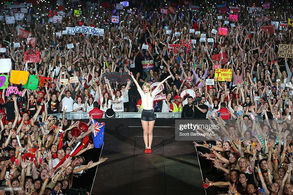 Seven-time Grammy winner <a gi-track='captionPersonalityLinkClicked' href=/galleries/search?phrase=Taylor+Swift&family=editorial&specificpeople=619504 ng-click='$event.stopPropagation()'>Taylor Swift</a> concluded the Australian leg of her RED tour, playing to a sold-out crowd of more than 40,000 fans, at Etihad Stadium on December 14, 2013 in Melbourne, Australia. Swift is the first solo female artist in twenty years to undertake a national stadium concert tour of Australia, the last being Madonna in 1993.