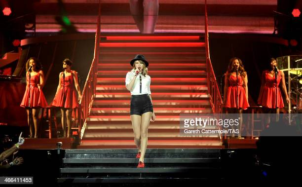 Seventime Grammy winner Taylor Swift performs on stage as she kicked off the European leg of her blockbuster The RED Tour with the first of five...