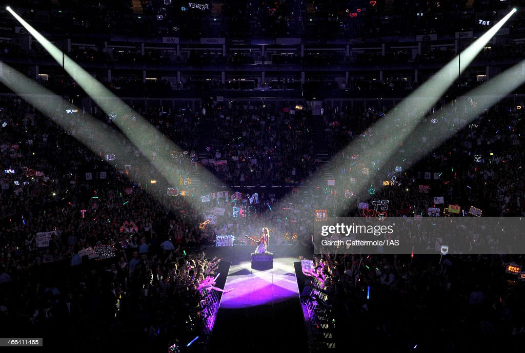 Seven-time Grammy winner <a gi-track='captionPersonalityLinkClicked' href=/galleries/search?phrase=Taylor+Swift&family=editorial&specificpeople=619504 ng-click='$event.stopPropagation()'>Taylor Swift</a> performs on stage as she kicked off the European leg of her blockbuster The RED Tour with the first of five sold-out shows at London's O2 Arena, playing to a capacity crowd of more than 15500 fans, on February 1, 2014 in London, England.