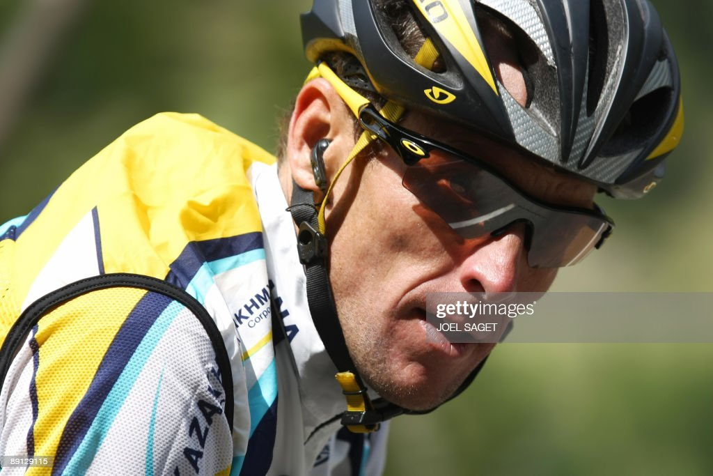 Seventime Tour de France winner and Kazakh cycling team Astana 's Lance Armstrong of the United States rides in the pack on July 21 2009 during the...