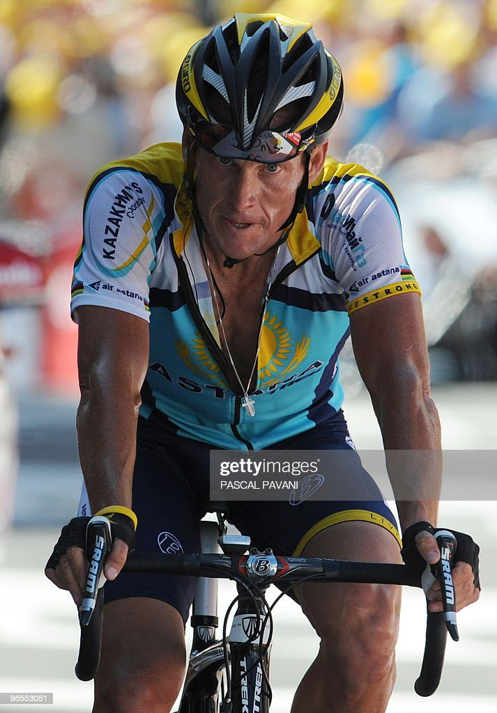 Seven-time Tour de France winner and Kazakh cycling team Astana (AST)'s Lance Armstrong of the United States is pictured after sprinting on July 19, 2009 at the end of the 207,5 km and fifteenth stage of the 2009 Tour de France cycling race run between Pontarlier and Verbier (Switzerland).