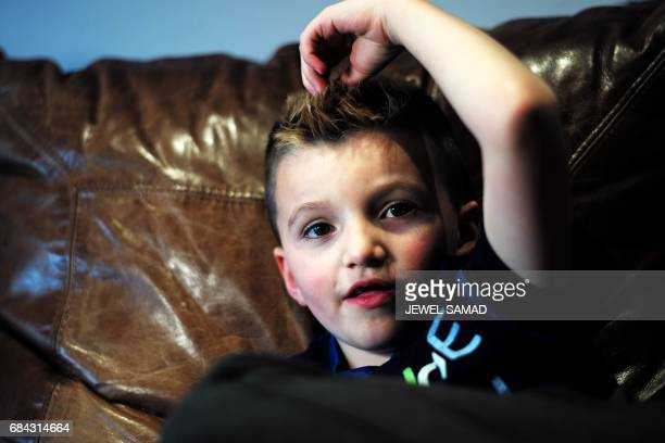 Sevenyearold transgender boy Jacob Lemay speaks during an interview with Agence FrancePresse at his home in Melrose Massachusetts on May 9 2017 For...