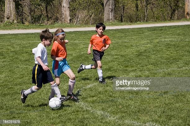 Sevenyearolds playing soccer
