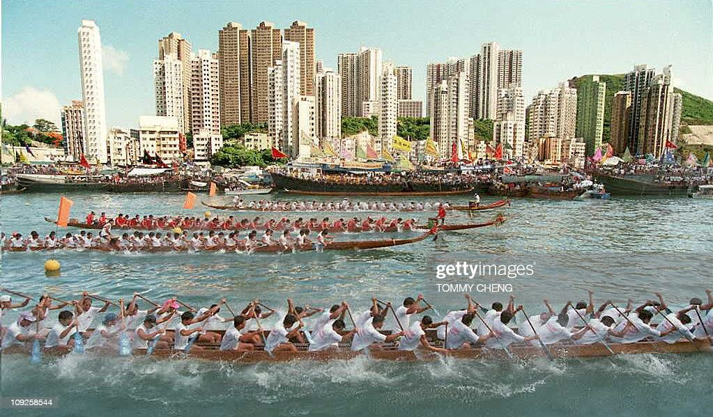 Several boats race during competition at the local dragon boat race 02 June at Hong Kong's Aberdeen Harbour to celebrate the annual Chinese festival. A similar race a week following the dragon boat festival attracts many foreign participants from around the world.