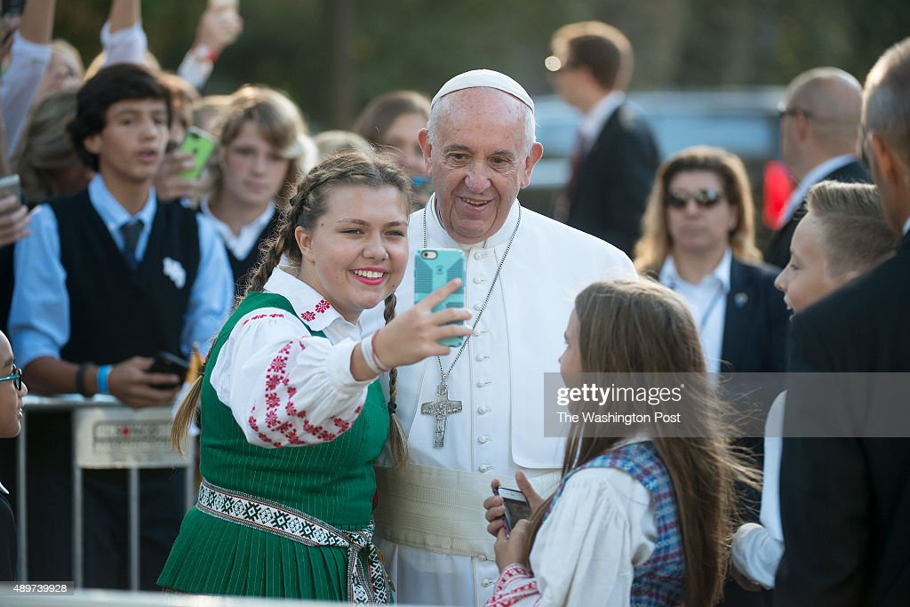 Several catholic school students are greeted by Pope Francis outside the Apostolic Nunciature to the United States in Washington, D.C. on September 23, 2015.