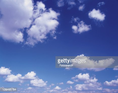 Several Clouds Under a Blue Sky, Low Angle View