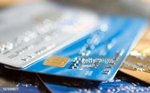 Several Credit Cards Selective Focus