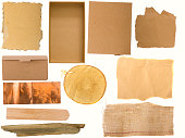 variety of backgrounds, paper, burlap, wood and copper on the white background