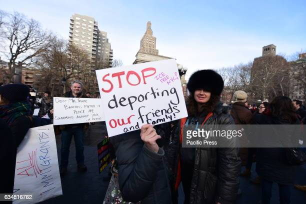 Several hundred antiTrump proimmigration demonstrators gathered in Washington Square Park to demand that the Trump Administration cease issuing...