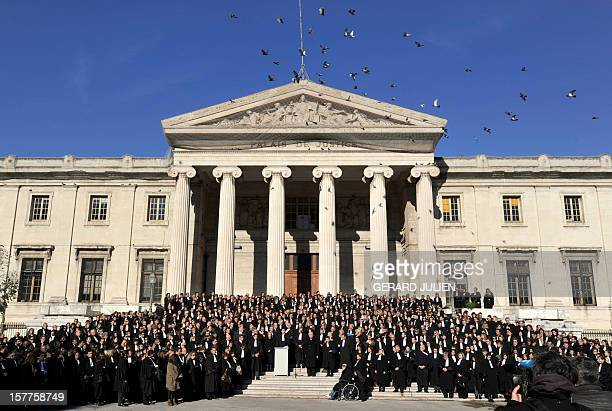 Several hundred lawyers gather on December 6 2012 in front of the Marseille's courthouse to pay tribute to lawyer Raymonde Talbot who was found...
