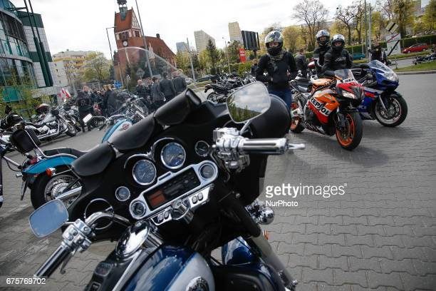 Several hundred motorcyclists gathered at the parking lot of the Tesco supermarket in Bydgozcz Poland on 1 May 2017 to celebrate the start of the...