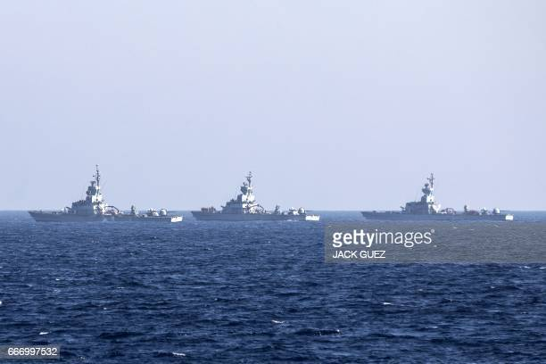 CORRECTION Several Israeli Missiles boats are seen during the 'Novel Dina 17' training session in the Mediterranean Sea on April 4 2017 Israel's navy...