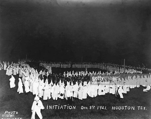 Several klansmen gather for a Ku Klux Klan initiation Houston Texas December 8 1921