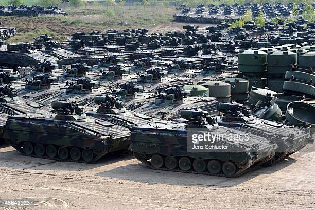 Several Marder light tanks that once belonged to the Bundeswehr are seen at the Battle Tank Dismantling GmbH Koch on April 23 2014 in Edeleben...