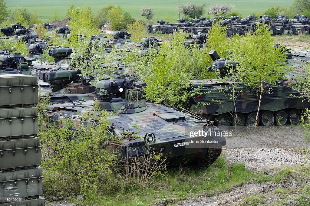 Several Marder light tanks that once belonged to the Bundeswehr are seen at the Battle Tank Dismantling GmbH Koch on April 23, 2014 in Edeleben, Germany. Since the early 1990s the company has dismantled over 15,000 tanks and other armoured vehicles, from German, Austrian, French and other European arsenals, as many nations reduce their military forces in accordance with the Conventional Armed Forces in Europe Treaty.