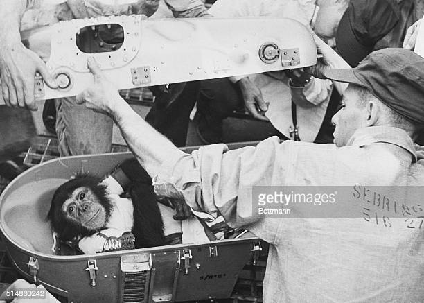 Several men open the space capsule of Ham the Space Chimp after his historic flight on a recovery ship off Cape Canaveral