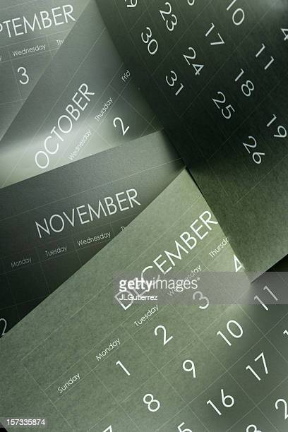 Several monthly calendars marking the passage of time
