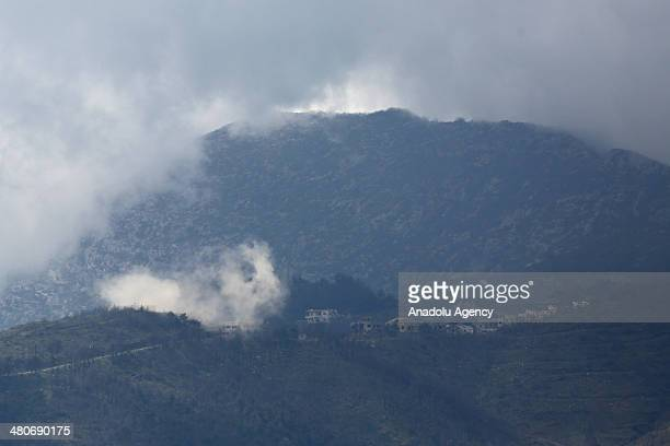 Several mortar shells dropped on the south of the Syrian town of Keseb close to the Syrian border as a result of a fight between Syrian opposition...
