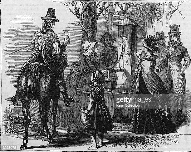 Several people including a horseman gather at Knapp's TeaWater Pump for a glass or jug of water Greenwich Village New York New York late 1700s