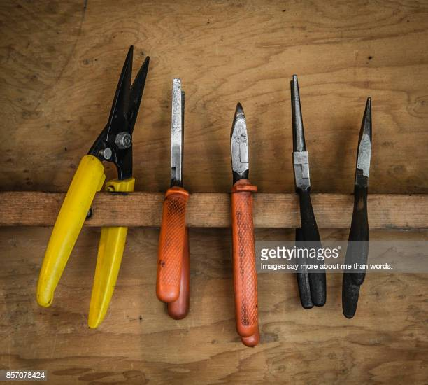 Several pliers hung in tool cabinet. - Still life