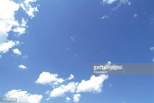 Several Small Clouds Floating in the Blue Sky, Low Angle View