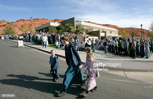 Several thousand polygamy supporters from Colorado City Arizona gather at the Fourth District Courthouse November 14 2008 in St George Utah Members...