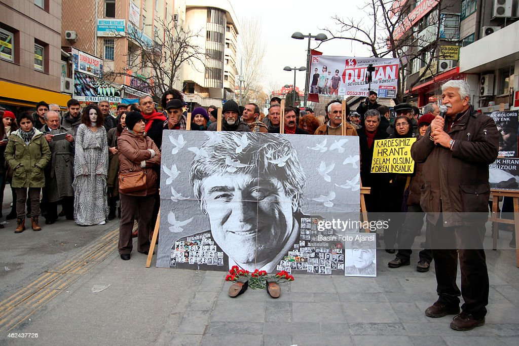 Several thousand protesters in Ankara's Kizilay Square marked the anniversary of <a gi-track='captionPersonalityLinkClicked' href=/galleries/search?phrase=Hrant+Dink&family=editorial&specificpeople=741548 ng-click='$event.stopPropagation()'>Hrant Dink</a>'s killing. Attendees chanted 'We are all <a gi-track='captionPersonalityLinkClicked' href=/galleries/search?phrase=Hrant+Dink&family=editorial&specificpeople=741548 ng-click='$event.stopPropagation()'>Hrant Dink</a>' and 'Murderer state will account for this'. Turkish-Armenian journalist <a gi-track='captionPersonalityLinkClicked' href=/galleries/search?phrase=Hrant+Dink&family=editorial&specificpeople=741548 ng-click='$event.stopPropagation()'>Hrant Dink</a> was shot dead in 2007 in front of the Agos newspaper in Istanbul. Ogun Samast, who was 17 at the time of the killing, was sentenced to 23 years in prison for having committed the murder.