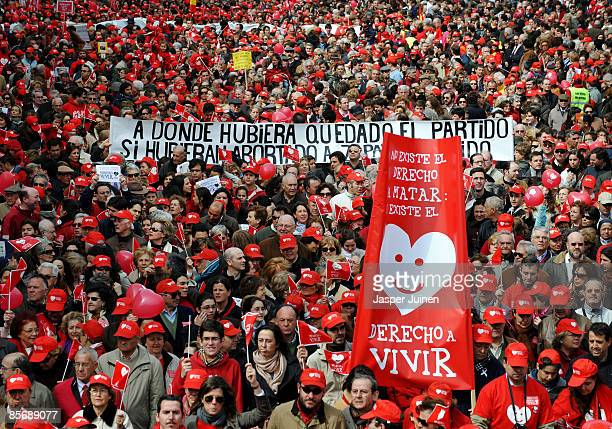 Several thousand protestors march during a church backed antiabortion demonstration on March 29 2009 in Madrid Spain A new abortion proposal by...