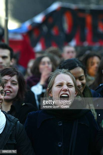 Several thousand students take to the streets of Paris protesting against French Prime Minister Dominique de Villepin's CPE plan which will give...