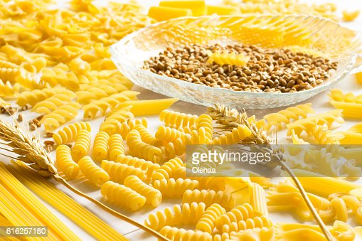 Several types of pasta, spikelets of wheat, wheat grain : Stock Photo