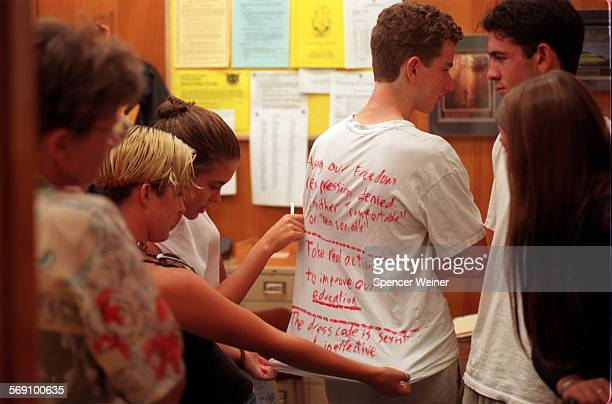 Several Ventura High School students protested the schools dress code Monday morning turning over petition with 180 names to Vice–Principal Valerie...