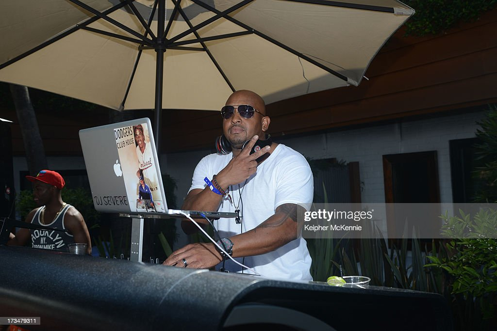 DJ Severe at the 4th Annual Alex Thomas Celebrity Golf Weekend Pool Party hosted by NFL's Jacoby Jones of the Baltimore Ravens at Hollywood Roosevelt Hotel on July 14, 2013 in Hollywood, California.