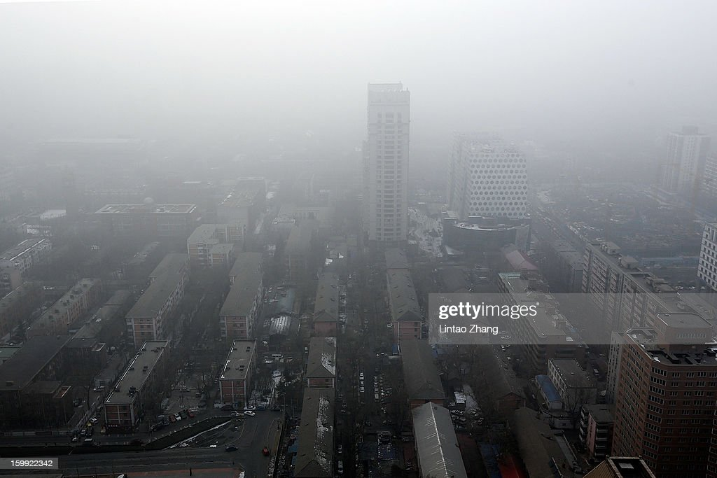 Severe pollution obscures the skyline on January 23, 2013 in Beijing, China. The air quality in Beijing on Wednesday hit serious levels as smog blanketed the city.