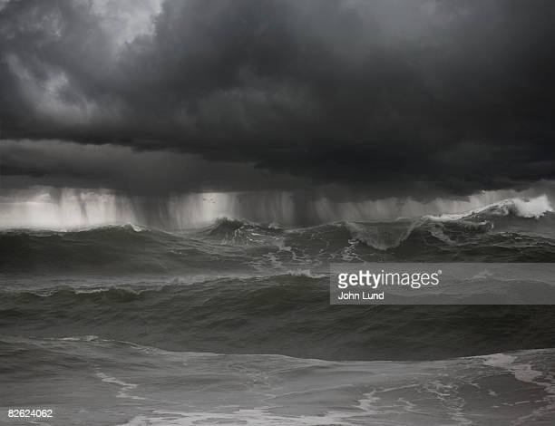 Severe thunderstorm over rough seas