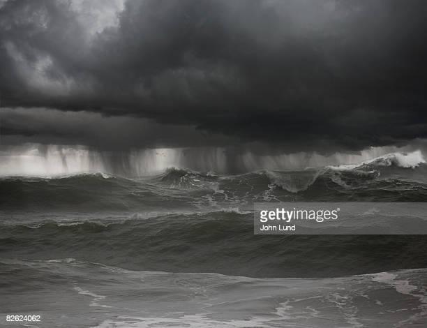 Severe thunderstorm over rough seas