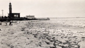 Severe winter weather has caused the sea to freeze at Herne Bay in Kent circa 1963