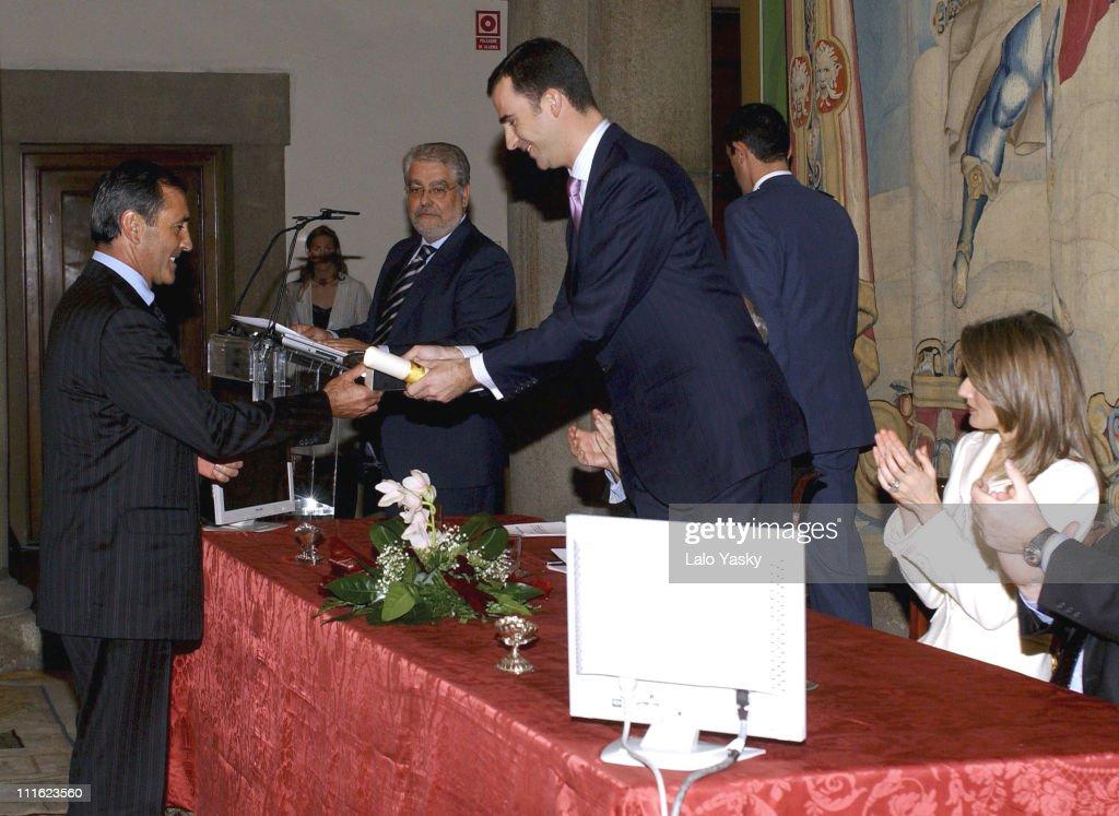 Severiano Ballesteros (left), Crown Prince Felipe and Princess Letizia