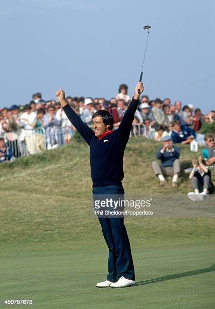 Severiano Ballesteros of Spain celebrates after making the final putt to win the Irish Open Golf Tournament held at the Portmarnock Golf Club Ireland...