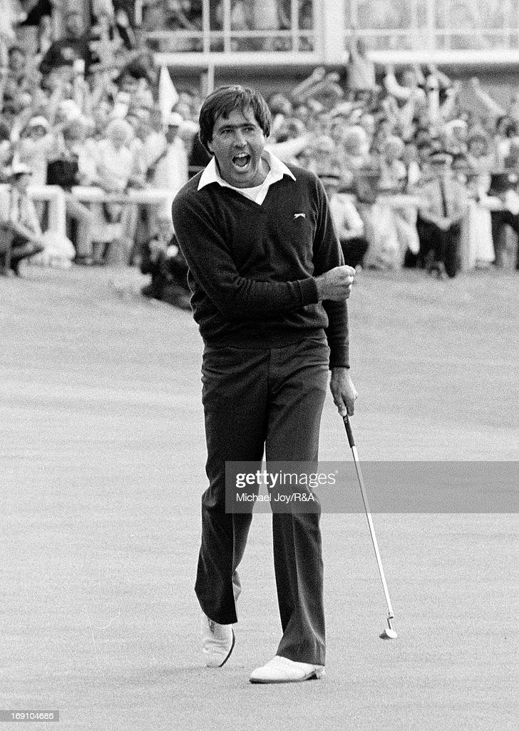 Severiano Ballesteros of Spain celebrates holing his winning putt for birdie on the 18th green during the final round of the 1984 Open Championship held on the Old Course at St Andrews on July 22, 1984 in St Andrews, Scotland.