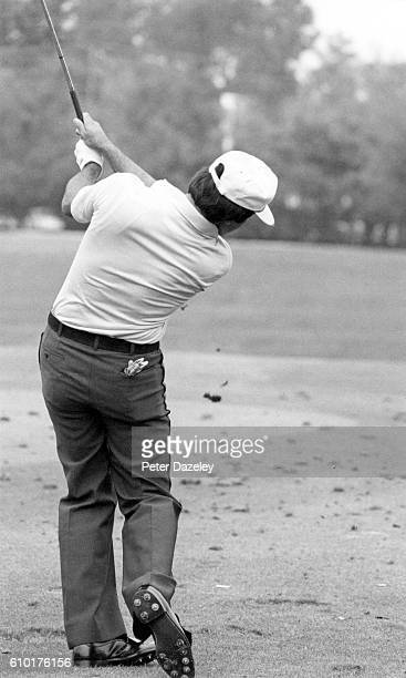 Severiano Ballesteros of Spain hits a medium iron shot on the driving range during the 43rd Masters Tournament at Augusta National Golf Club on April...