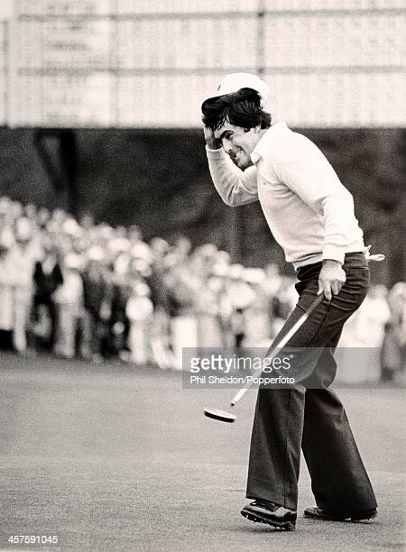 Severiano Ballesteros of Spain reacts during the US Masters Golf Tournament held at the Augusta National Golf Club in Georgia circa April 1980...