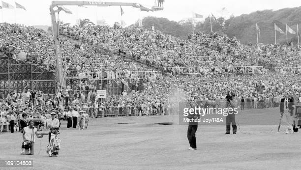 Severiano Ballesteros plays his approach shot to the 18th green during the final round of the 1984 Open Championship held on the Old Course at St...