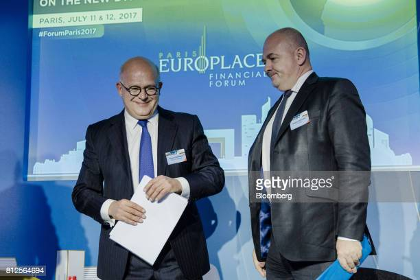 Severin Cabannes deputy chief executive officer of Societe Generale SA left and Stephane Boujnah chief executive officer of Euronext NV stand on...