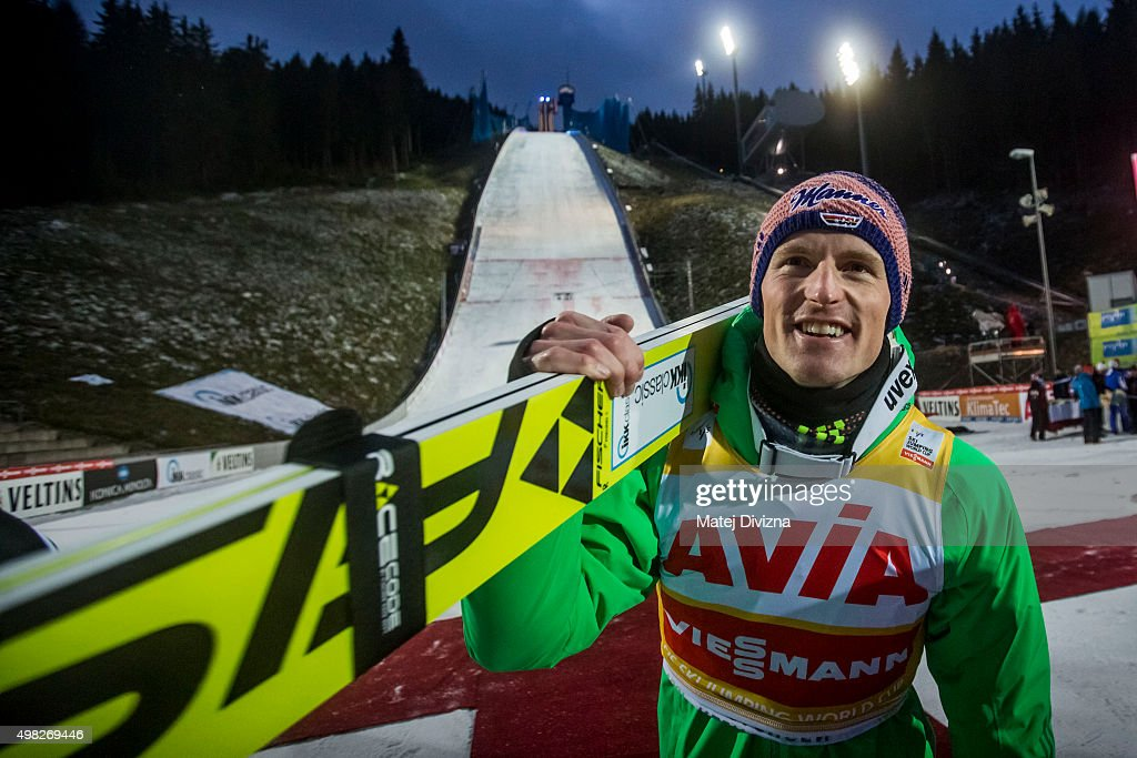 <a gi-track='captionPersonalityLinkClicked' href=/galleries/search?phrase=Severin+Freund&family=editorial&specificpeople=4780594 ng-click='$event.stopPropagation()'>Severin Freund</a> of Germany carries his ski as he celebrates his third place after the individual competition at the FIS World Cup Ski Jumping day three on November 22, 2015 in Klingenthal, Germany.