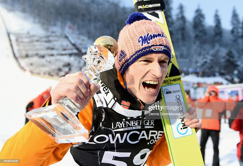 <a gi-track='captionPersonalityLinkClicked' href=/galleries/search?phrase=Severin+Freund&family=editorial&specificpeople=4780594 ng-click='$event.stopPropagation()'>Severin Freund</a> of Germany celebrates after winning the FIS Ski Jumping World Cup on February 1, 2015 in Willingen, Germany.