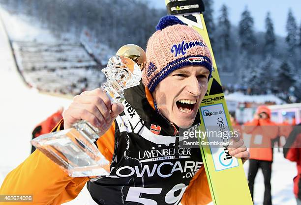 Severin Freund of Germany celebrates after winning the FIS Ski Jumping World Cup on February 1 2015 in Willingen Germany