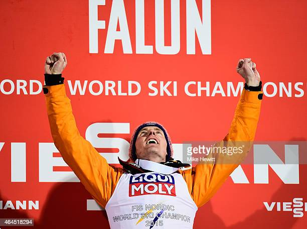 Severin Freund of Germany celebrates winning the gold medal in the Men's HS134 Large Hill Ski Jumping Final during the FIS Nordic World Ski...